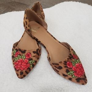 Report leopard print pointed two part ballet flat